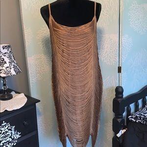 H & M fringe gold dress